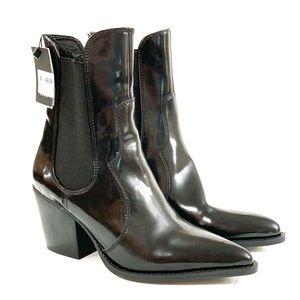 Zara 7.5 black womens high block heel ankle boots